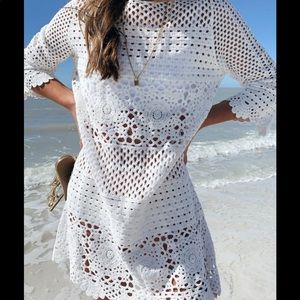 NWOT white crochet beach cover up mini dress